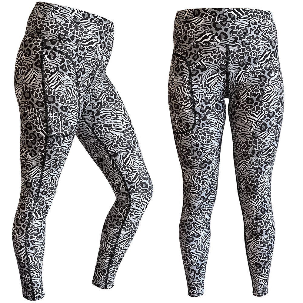 Ladies Lifestyle Leggings - Black Safari - Mini Print
