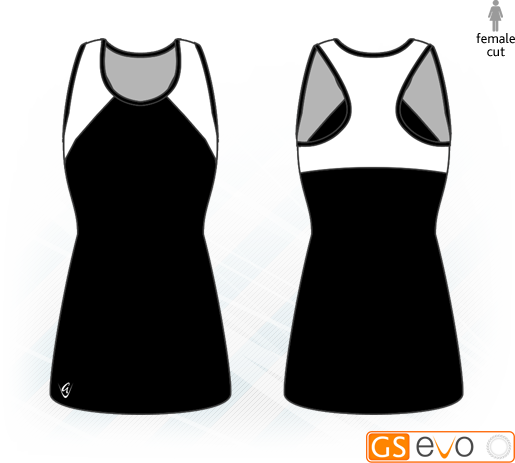 Bella Black/White Y-Back Netball Dress