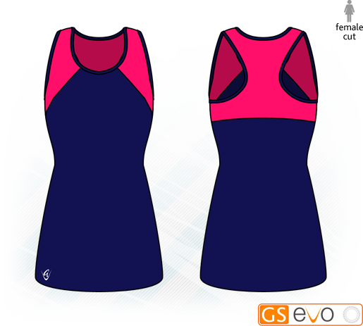 Bella Navy/Cerise Y-Back Netball Dress