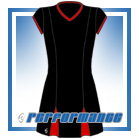 Godet Black/Red Cap Sleeve Netball Dress