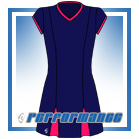 Godet Navy/Cerise Cap Sleeve Netball Dress