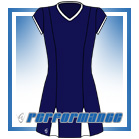 Godet Navy/White Cap Sleeve Netball Dress