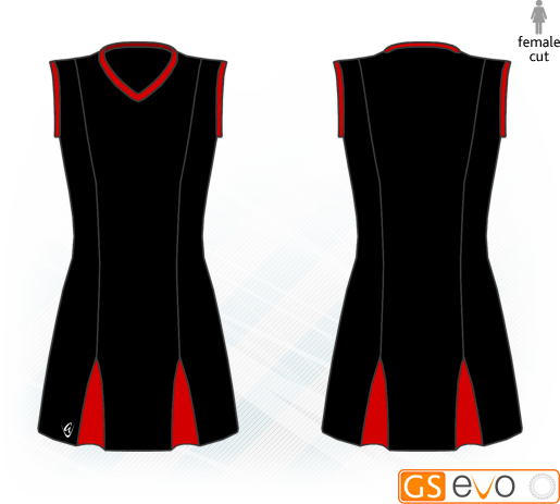 Godet Black/Red Sleeveless Netball Dress