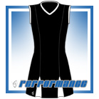 Godet Black/White Sleeveless Netball Dress