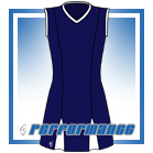 Godet Navy/White Sleeveless Netball Dress