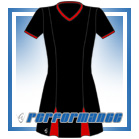 Godet Black/Red Short Sleeve Netball Dress