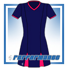 Godet Navy/Cerise Short Sleeve Netball Dress