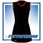 Venus Black/Red Sleeveless Netball Dress