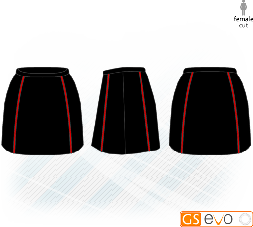 A-Line Black/Red Netball Skirt