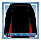 Kick Pleat Black/Red Netball Skirt