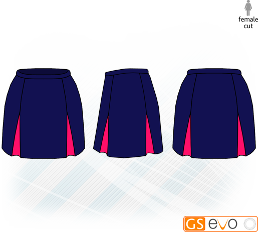 Kick Pleat Navy/Cerise Netball Skirt