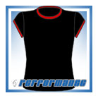 Crew Neck Black/Red Cap Sleeve Netball Top