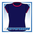 Crew Neck Navy/Cerise Cap Sleeve Netball Top
