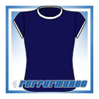 Crew Neck Navy/White Cap Sleeve Netball Top