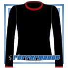 Crew Neck Black/Red Long Sleeve Netball Top