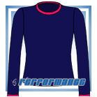 Crew Neck Navy/Cerise Long Sleeve Netball Top