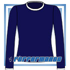 Crew Neck Navy/White Long Sleeve Netball Top