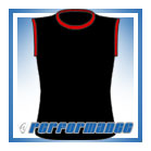 Crew Neck Black/Red Sleeveless Netball Top