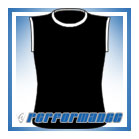 Crew Neck Black/White Sleeveless Netball Top