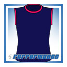 Crew Neck Navy/Cerise Sleeveless Netball Top