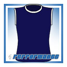 Crew Neck Navy/White Sleeveless Netball Top