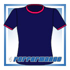 Crew Neck Navy/Cerise Short Sleeve Netball Top