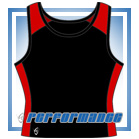 Pro Vest-Back Black/Red Netball Top