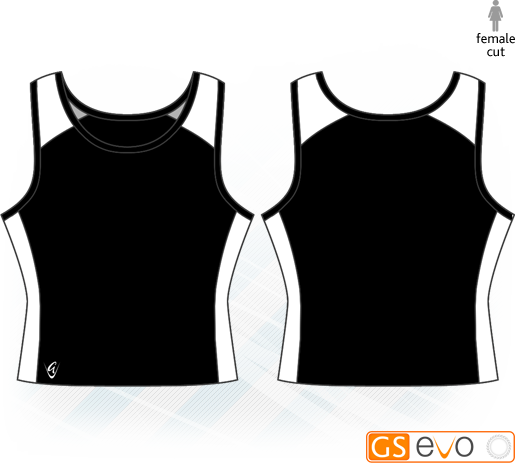 Pro Vest-Back Black/White Netball Top