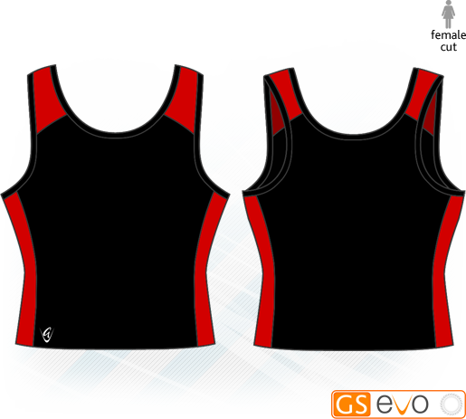 Pro Y-Back Black/Red Netball Top
