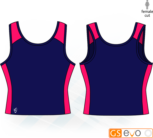 Pro Y-Back Navy/Cerise Netball Top