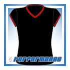 V Neck Black/Red Cap Sleeve Netball Top