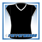 V Neck Black/White Cap Sleeve Netball Top