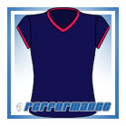 V Neck Navy/Cerise Cap Sleeve Netball Top