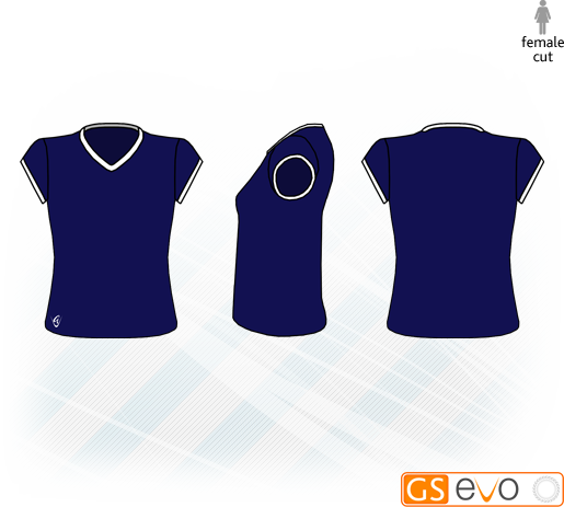 V Neck Navy/White Cap Sleeve Netball Top