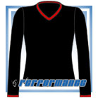 V Neck Black/Red Long Sleeve Netball Top