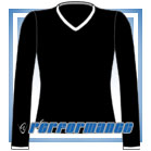 V Neck Black/White Long Sleeve Netball Top