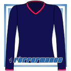 V Neck Navy/Cerise Long Sleeve Netball Top