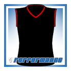 V Neck Black/Red Sleeveless Netball Top