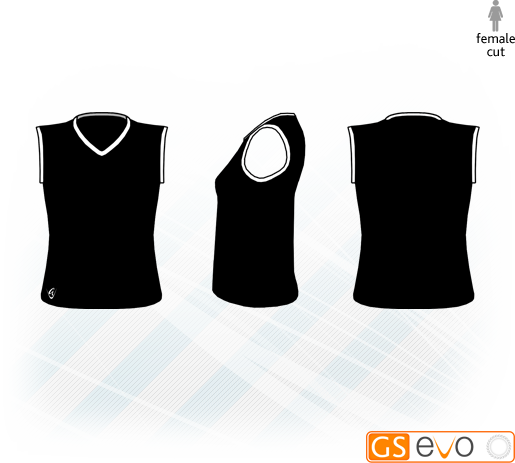 V Neck Black/White Sleeveless Netball Top