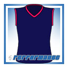 V Neck Navy/Cerise Sleeveless Netball Top