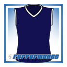 V Neck Navy/White Sleeveless Netball Top