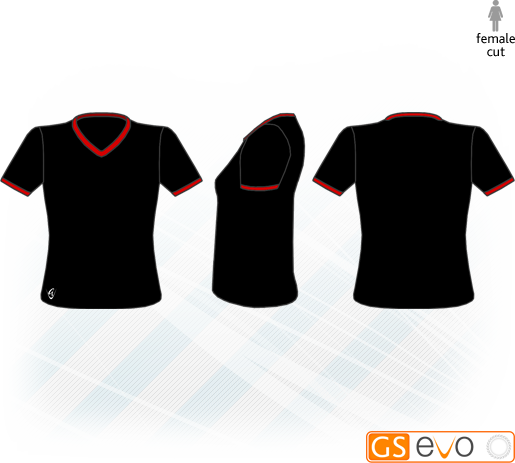 V Neck Black/Red Short Sleeve Netball Top