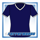 V Neck Navy/White Short Sleeve Netball Top