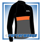 Black/Orange LS Neck-Zip Cycling Jersey