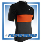 Black/Orange SS Neck-Zip Cycling Jersey