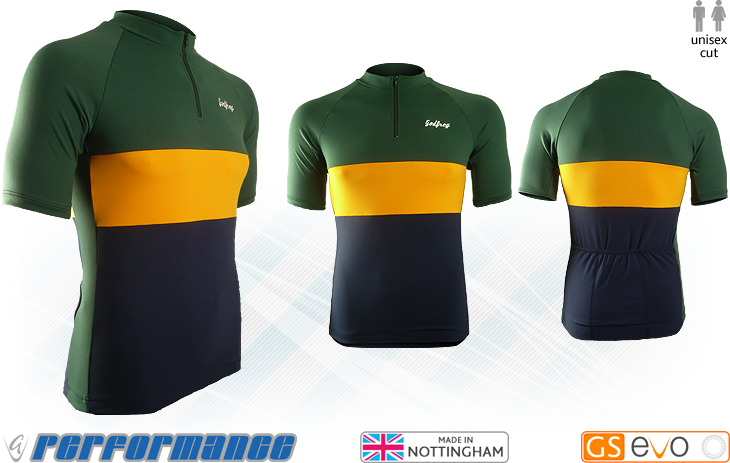 Bottle/Gold SS Neck-Zip Cycling Jersey