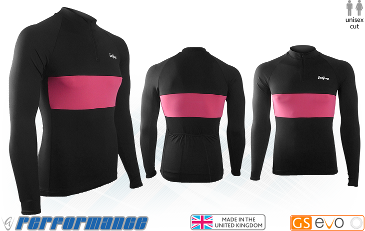 Black/Cerise LS Neck-Zip Cycling Jersey