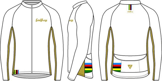 White Rainbow L/S Full-zip Cycling Jacket (mesh lining)