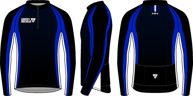 Blue Honeycomb LS Cycling Jersey