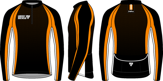 Orange Honeycomb L/S Full-zip Cycling Jacket (mesh lining)